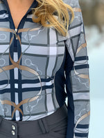 Plaid&Leathers Quarter Zip, Navy