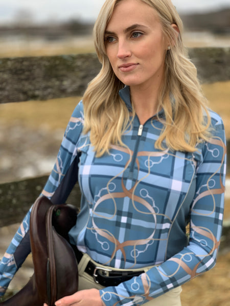 Plaid & Leathers Quarter Zip, Blue Mirage