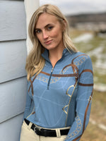 Dangled Quarter Zip, Blue Mirage