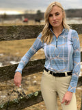 Modern Plaid & Leathers Quarter Zip, Blue Mirage