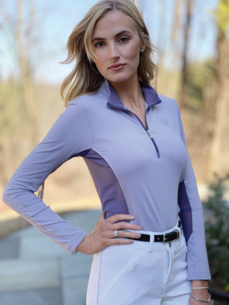 Two Tone Quarter Zip, Nightshade/Lavender