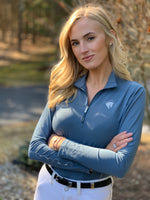 Solid Quarter Zip, Blue Mirage