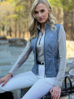 """A Bit Above"" Vest, Blue Mirage Houndstooth"