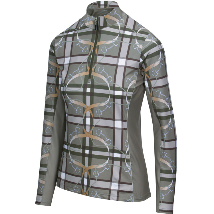 Plaid & Leathers Quarter Zip with Mesh, Moss (3013)