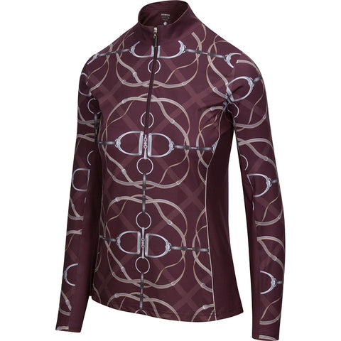 BrioTek 200 Quarter Zip Ribbons & Reins Raisin  (3011)