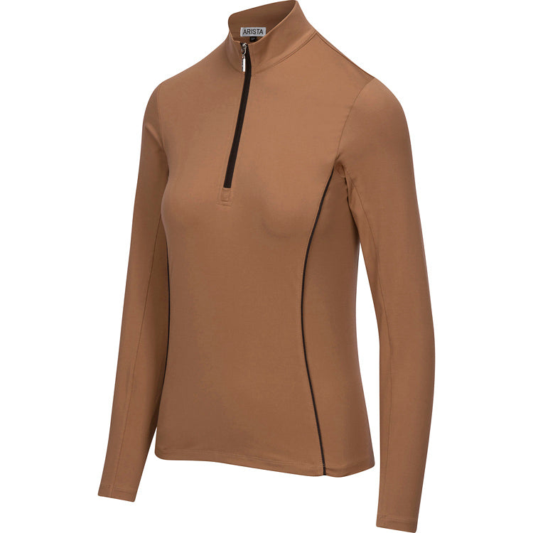 Arista Equestrian Long Sleeve Performance Quarter Zip Bronze