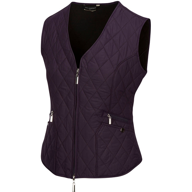 Arista Equestrian Quilted V Vest in Blackberry (4005)