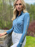 Geometric Quarter Zip, Blue Mirage