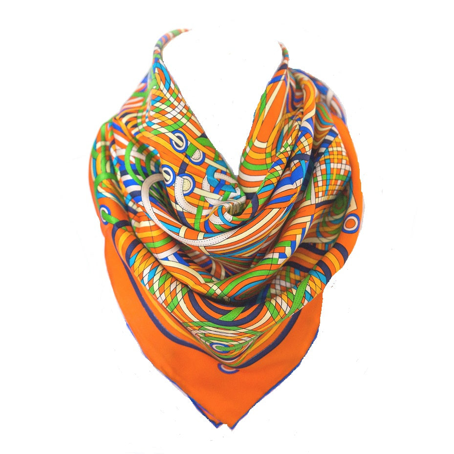 100% Silk Twill Stripe Scarf Orange