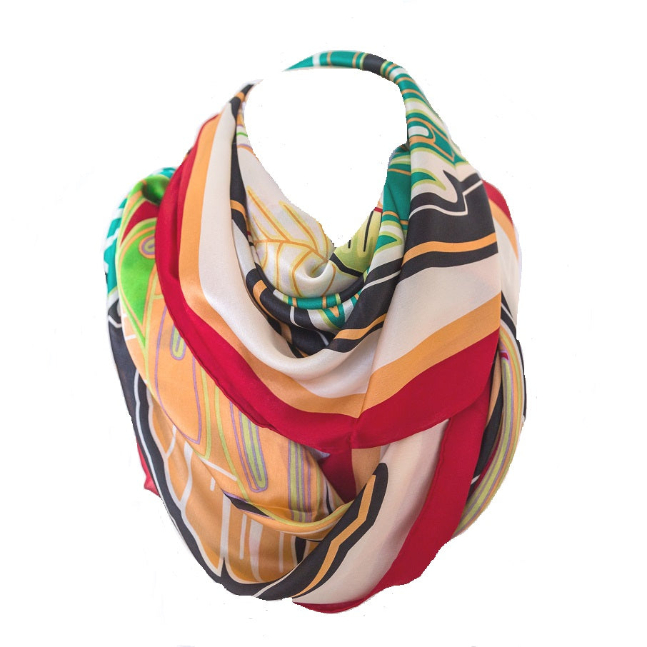W-100% Silk Bold Butterfly Scarf Red
