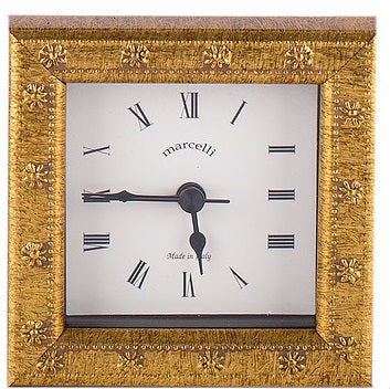 Clock Gold Daisy Wood