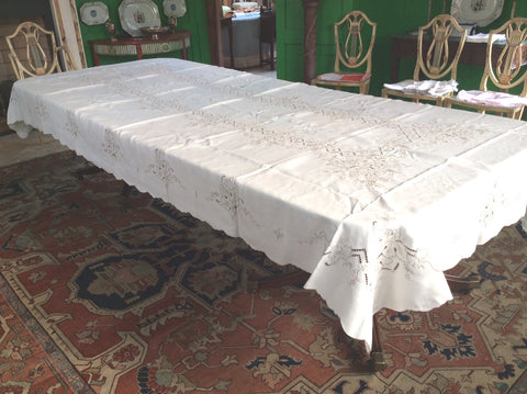 Banquet Cloth:  Ecru Linen with Embroidery and Scalloped edge