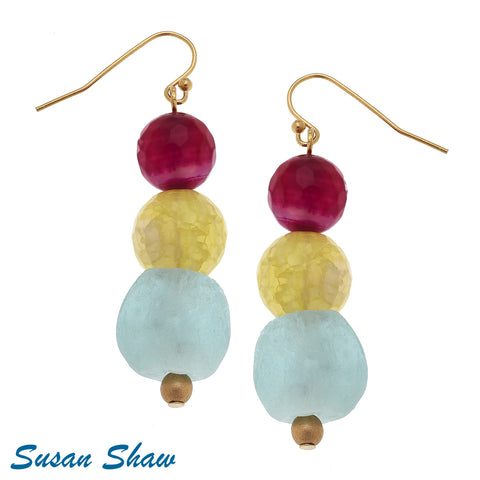 Susan Shaw Gold Pink, Yellow, Fire Agate Earrings