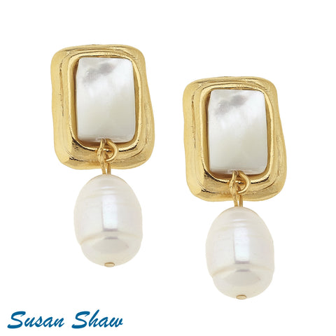 Susan Shaw Earrings Gold Rectangle with Mother of Pearl Clip and Freshwater Pearl Drop