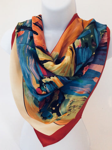 100% Silk Reproduction Painting Scarf