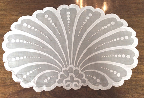 Placemats and Napkins: Appliqued Pink Organdy in Shell Pattern