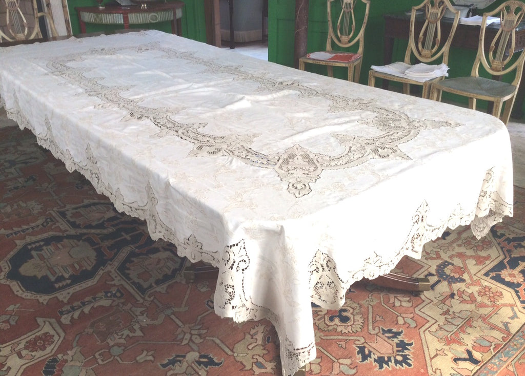 Table Cloth:  Exquisite Ecru cloth with all over intricate lace inlay and beautiful lace edging