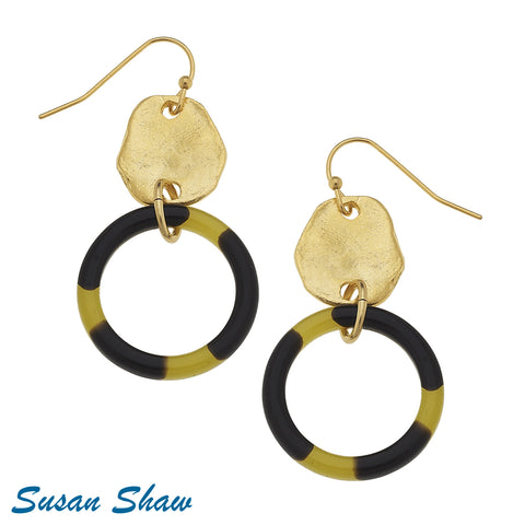 Susan Shaw Handcast Gold and Tortoiseshell Earrings