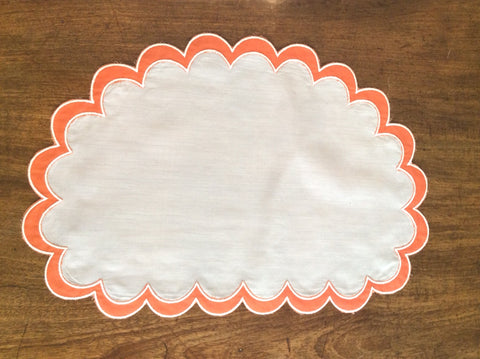 Placemats and Napkins:  Shrimp and White Polyestrer and Cotton Shell shaped.  Set of 8