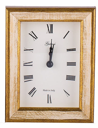 Clock Galassi Cream/Gold Wood 4 x 4