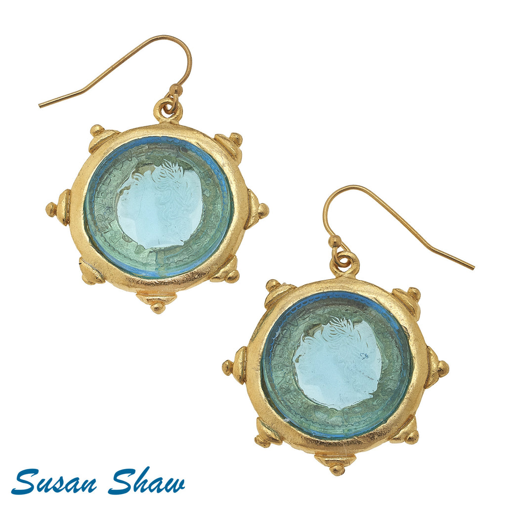 Susan Shaw  GoldWire Earring with Aqua Glass Intaglio
