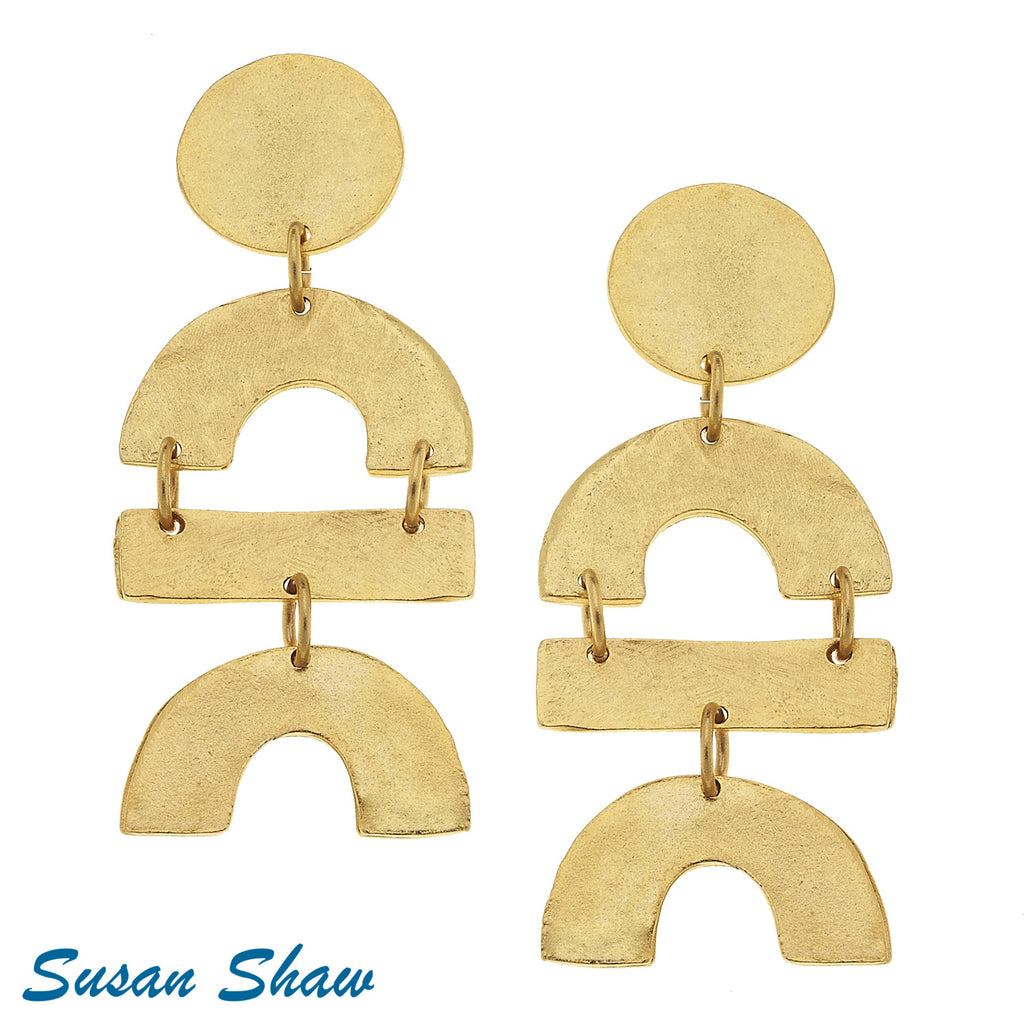 Susan Shaw Earrings Gold Round, Curve, and Bar