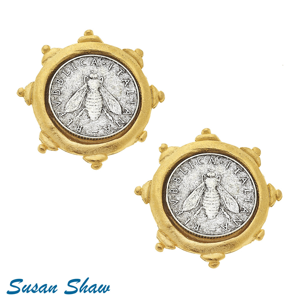Susan Shaw Gold Coin with Bee Clip Earrings