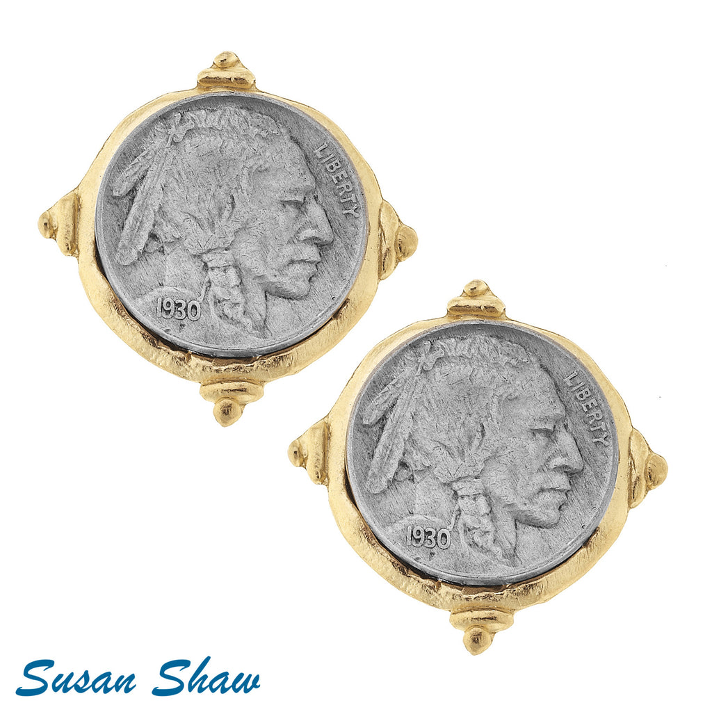 Susan Shaw Gold/Silver Indian Clip Earrings