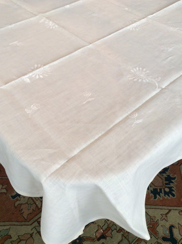 Bridge Table Cloth:  Ecru embroidered Linen with straight banded edging