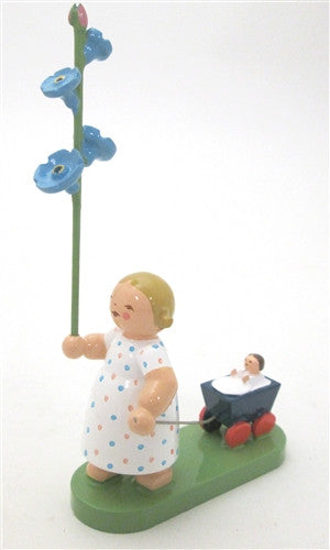 Girl with Forget Me not and Baby Buggy