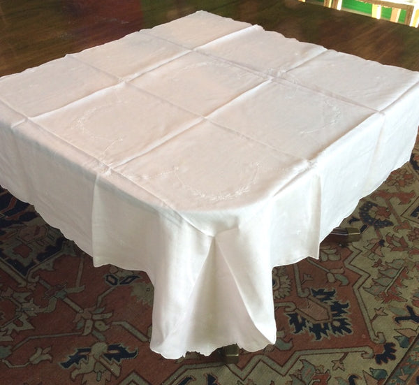 Bridge Table Cloth:  Pink Handerkerchief Embroidered Linen with matching napkins