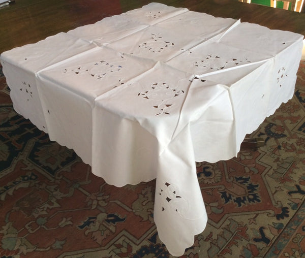 Bridge Table Cloth:  White Linen Cutwork and embroidery with Scalloped Edging