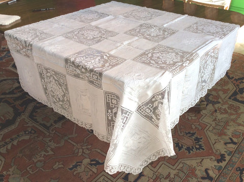 Bridge Table Cloth:  Army Navy  pattern of Embroidered Squares and Lace Squares with Lace Edging