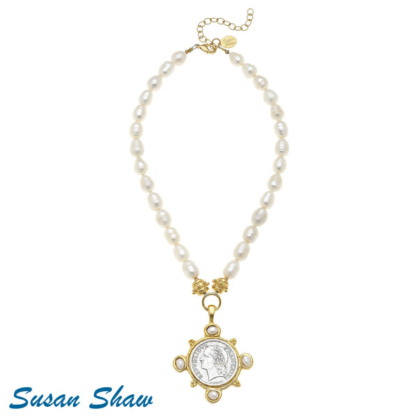 Susan Shaw Gold/Silver/Pearl Coin on Pearl Necklace