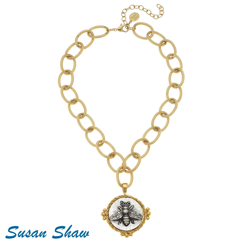 Susan Shaw Handcast Gold/Silver Rope Bee,  Necklace
