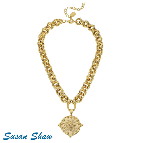 Susan Shaw  Double Chain Handcast Gold Bee with Dot Necklace