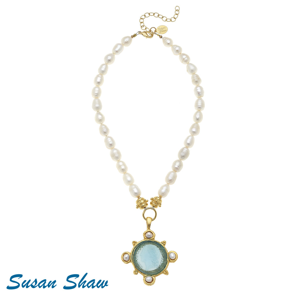 Susan Shaw Aqua Venetian Glass Coin on Pearl Necklace