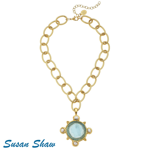 Susan Shaw Handcast Gold Link Necklace with Aqua Venetian Glass coin with Pearls