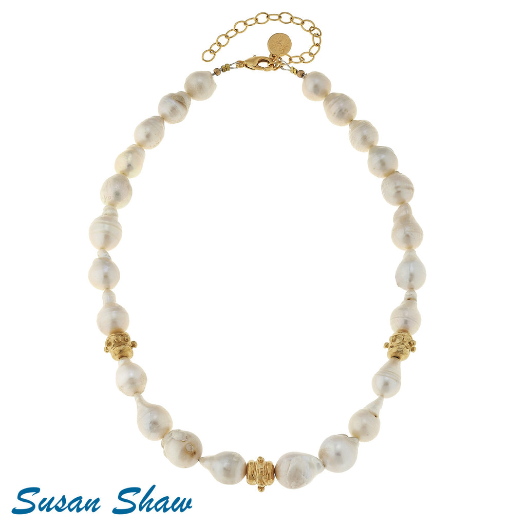 Susan Shaw Large Baroque Genuine Freshwater Pearls with Handcast Gold Bead Necklace