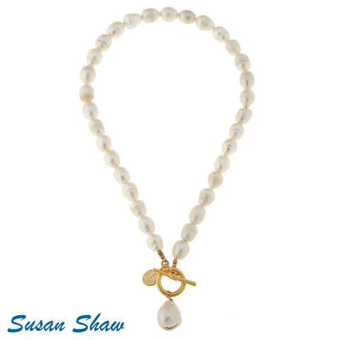 Susan Shaw Large Genuine Freshwater Pearl Front Toggle Necklace