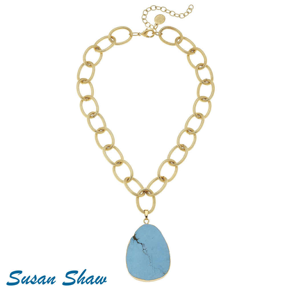 Susan Shaw Gold Chain with Large Turquoise Drop Necklace