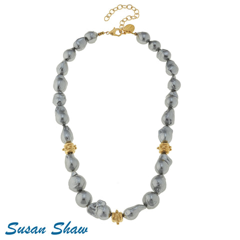Susan Shaw Gold Bead, Grey Baroque Pearl Necklace