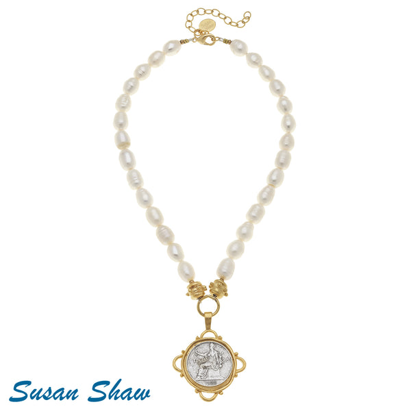Susan Shaw Handcast Gold/Silver Italian Coin on Genuine Freshwater Pearl Necklace