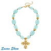 Susan Shaw Handcast Gold Cross and Aqua Quartz Necklace