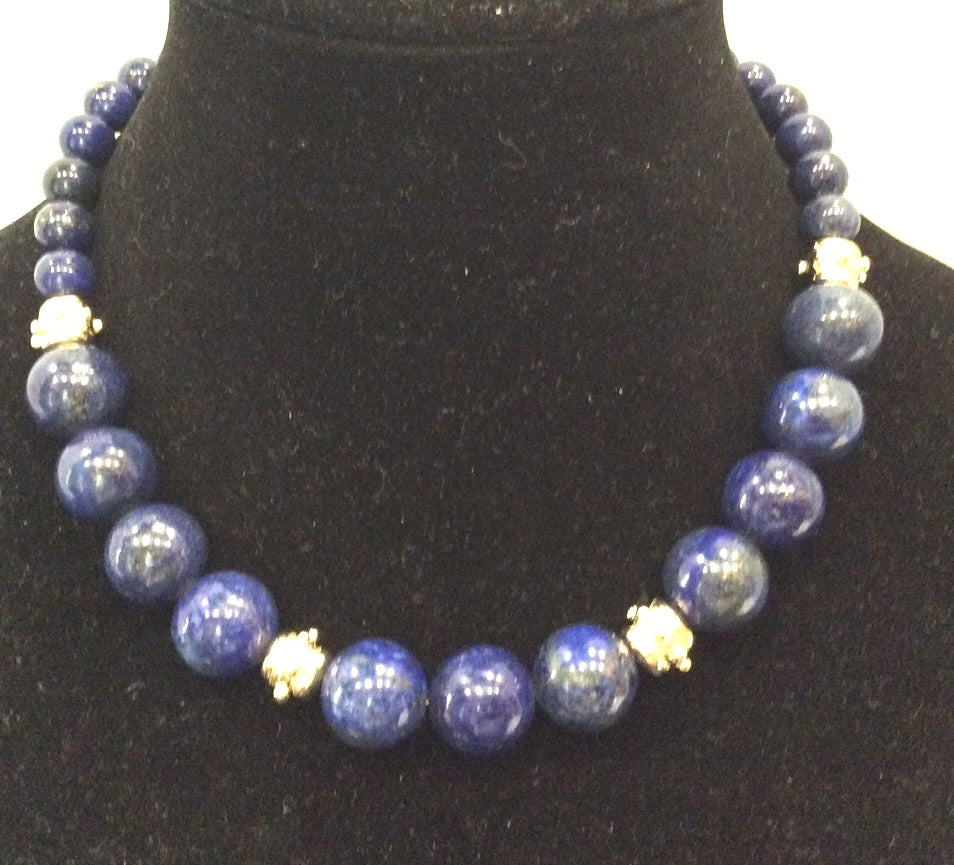 Susan Shaw Lapis Luzuli and Gold Choker