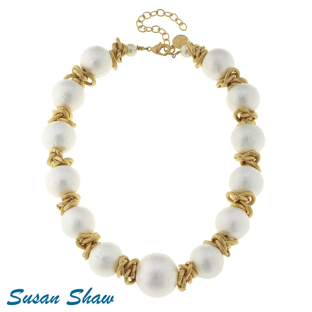 Susan Shaw Gold and White Cotton Pearl Choker