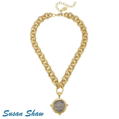 Susan Shaw Gold/Silver Buffalo Chain Necklace