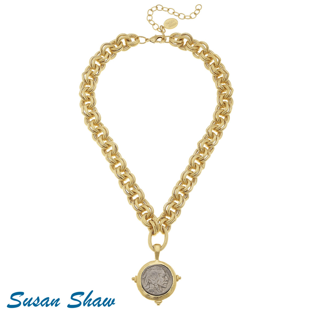 Susan Shaw Gold Chain Necklace with Vintage Indian Head Coin Pendant