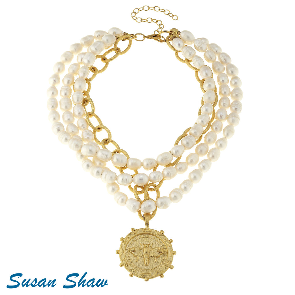 Susan Shaw Large Gold Bee on Gold Chain and 3 Strand Pearl Necklace