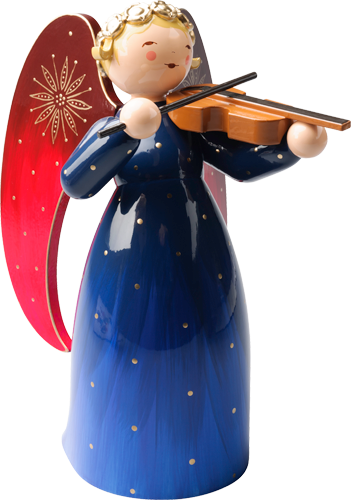 Richly Painted Angel, Large, with Violin, Blue